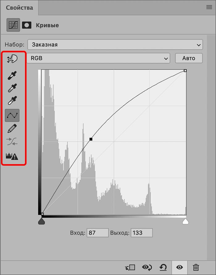 Элементы панели слева в свойства кривых в Фотошопе